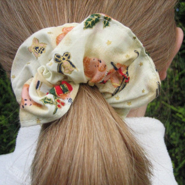 Christmas Cream Teddies Headband and Scrunchie, Girl's Xmas Cream Teddies Hair Gift Set