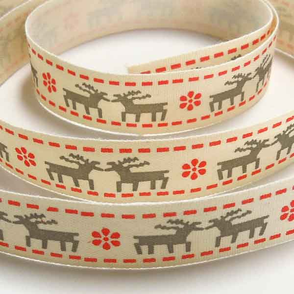 15 mm Nordic Christmas Red and Grey Reindeer Cotton Ribbon, Xmas Reindeer and Stars Cream Cotton Tape - Fabric and Ribbon