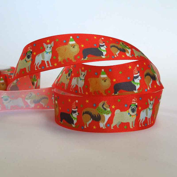 25 mm Red Christmas Dogs Ribbon by Berisfords, 1 inch Festive Pets Xmas Ribbon - Fabric and Ribbon