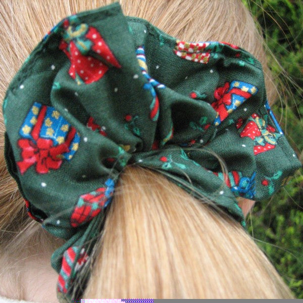 Festive Green Scrunchie and Hair Accessories