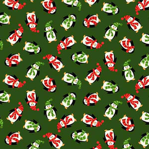 Mini Christmas Penguins Green Cotton Fabric by Makower 1302/G, Novelty Collection - Fabric and Ribbon