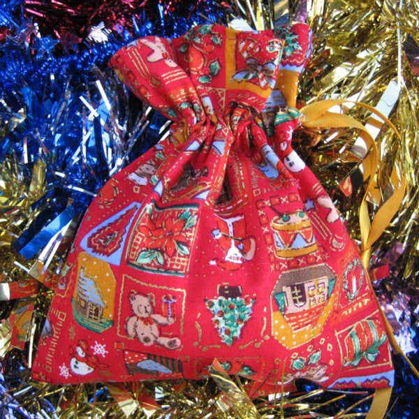 Christmas Large Drawstring Bags Handmade in 4 different Xmas Pure Cotton Fabrics and Fully Lined