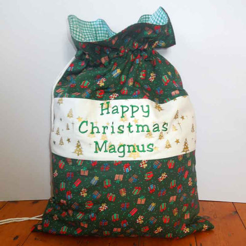 Green Presents Personalised Happy Christmas Toy Sack, Joyeux Noel Presents Toy Sack, Kid's Xmas Bag - Fabric and Ribbon