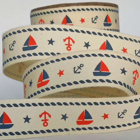 20 mm Blue and Red Sailboat and Anchor Cotton Ribbon, 3/4 inch Nautical Red and Blue Cotton Ribbon
