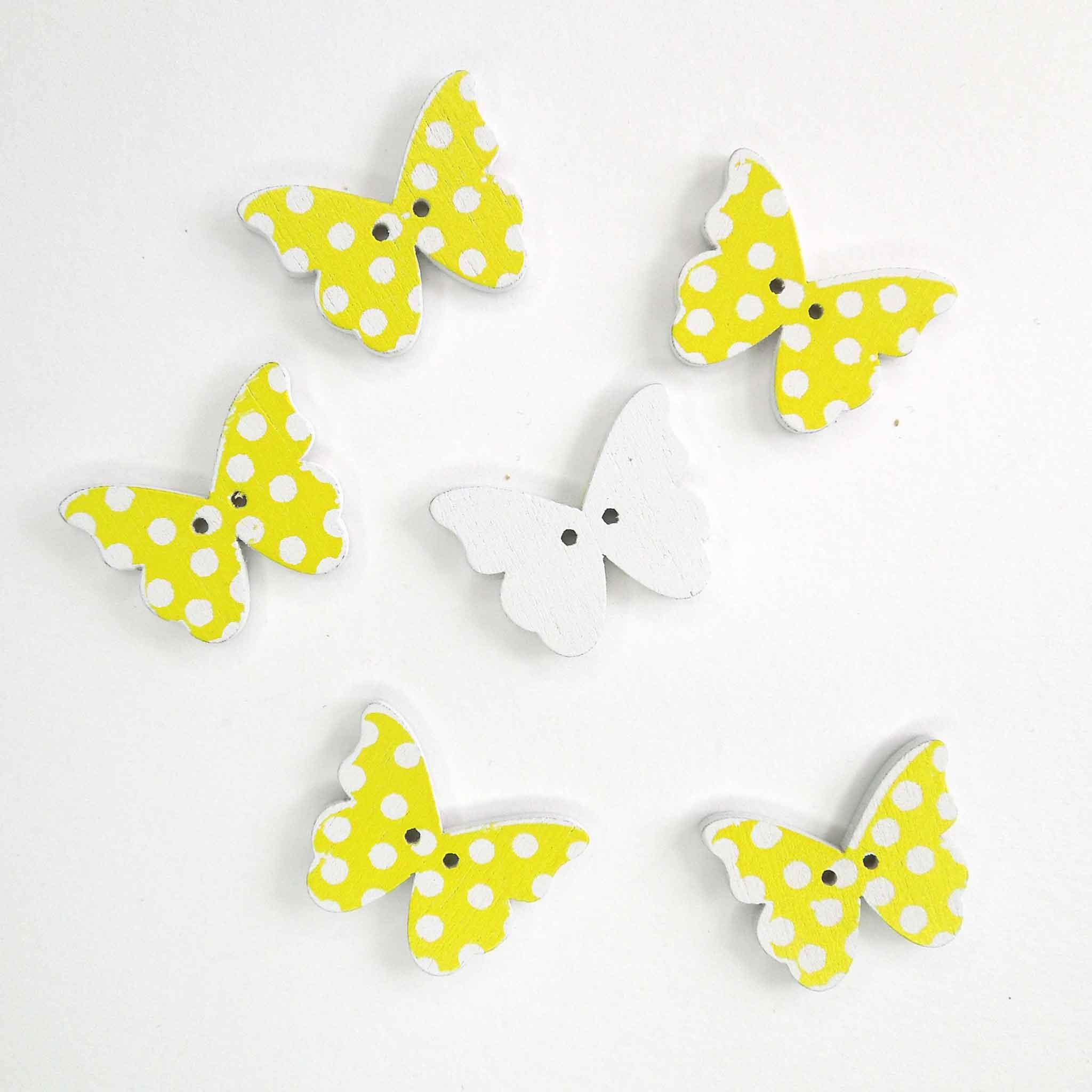 Yellow Butterfly Wood Buttons, 2 Holes, Pack of 6 Buttons