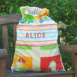 Child's Funny Dogs Personalised Toy Sack, Reversible Kid's Yellow Dogs Drawstring Storage Bag - Fabric and Ribbon