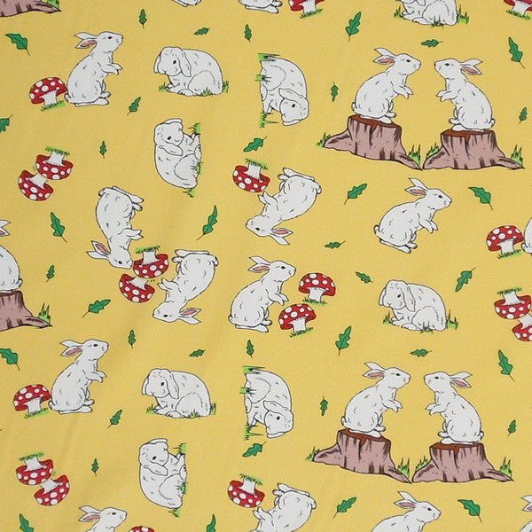 Rabbits on Yellow Cotton Fabric, Kid's Yellow Bunny Rabbit Fabric