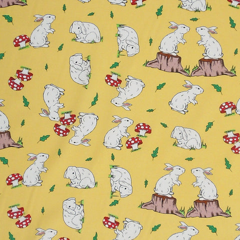 Kid's Rabbits on Yellow Cotton Fabric, Yellow Bunny Rabbit Fabric