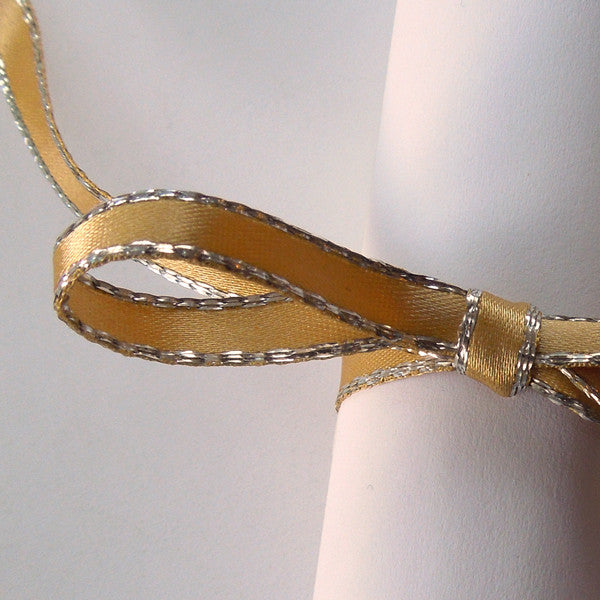 7 mm Gold Silver Edged Satin Ribbon by Berisfords, 5/16 inch Yellow and Silver Metallic Fabric Ribbon - Fabric and Ribbon