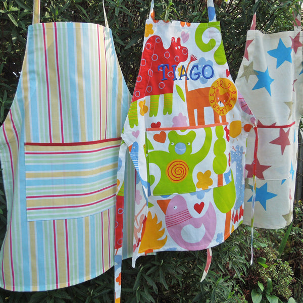 Toddler Yellow Stripe Personalised Apron with Pocket, Handmade, Ages 2 - 6 yrs