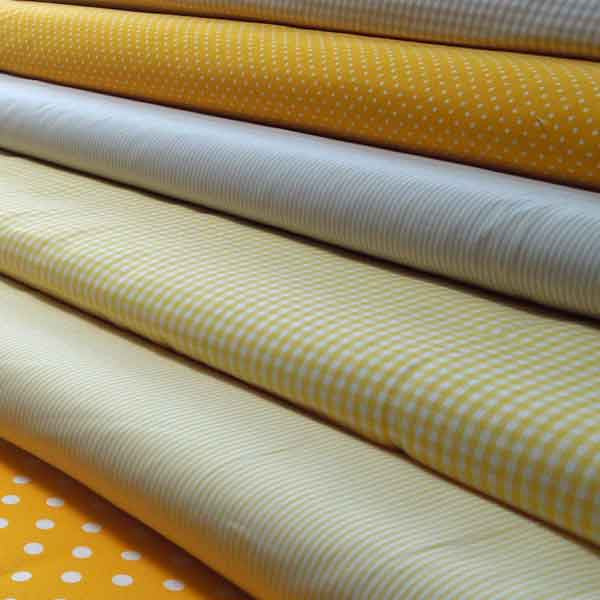 Yellow Striped Cotton Fabric, Yellow and White Narrow Striped Fabric