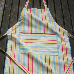 Toddler Yellow Striped Personalised Apron with Pocket, Handmade, Ages 2 - 6 yrs - Fabric and Ribbon
