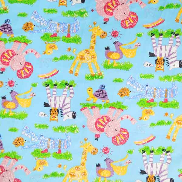 Baby Blue and Pink Elephant Cotton Fabric by Rose & Hubble, Kid's Blue Jungle Animal Fabric