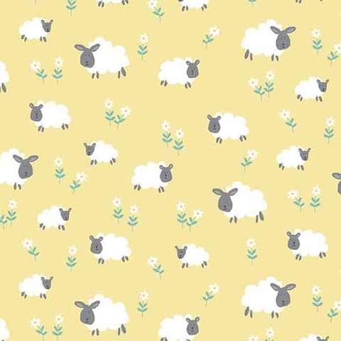 Sheep on yellow background fabric