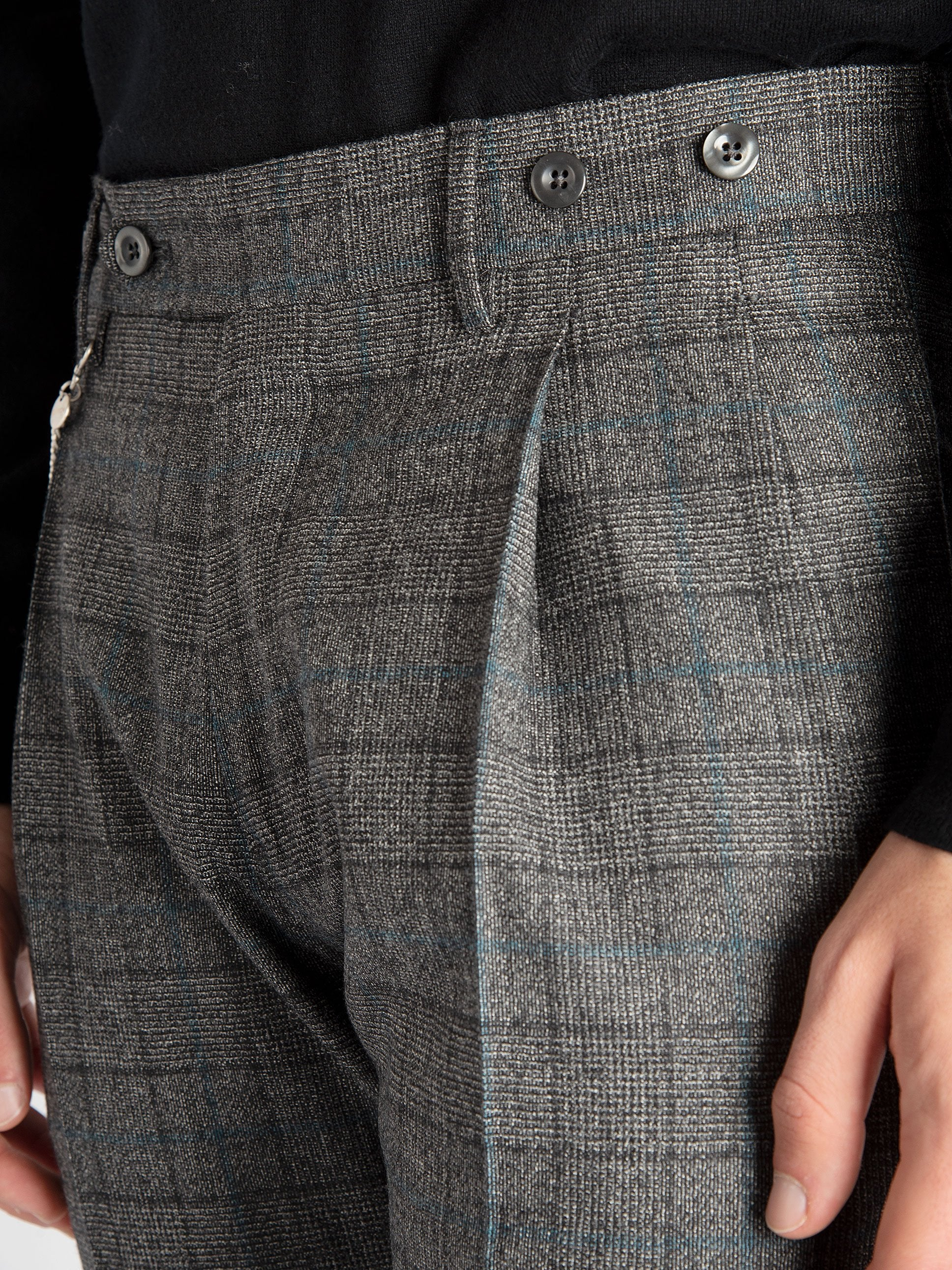 Pantalone 'Barber' - Over Check Azzurro