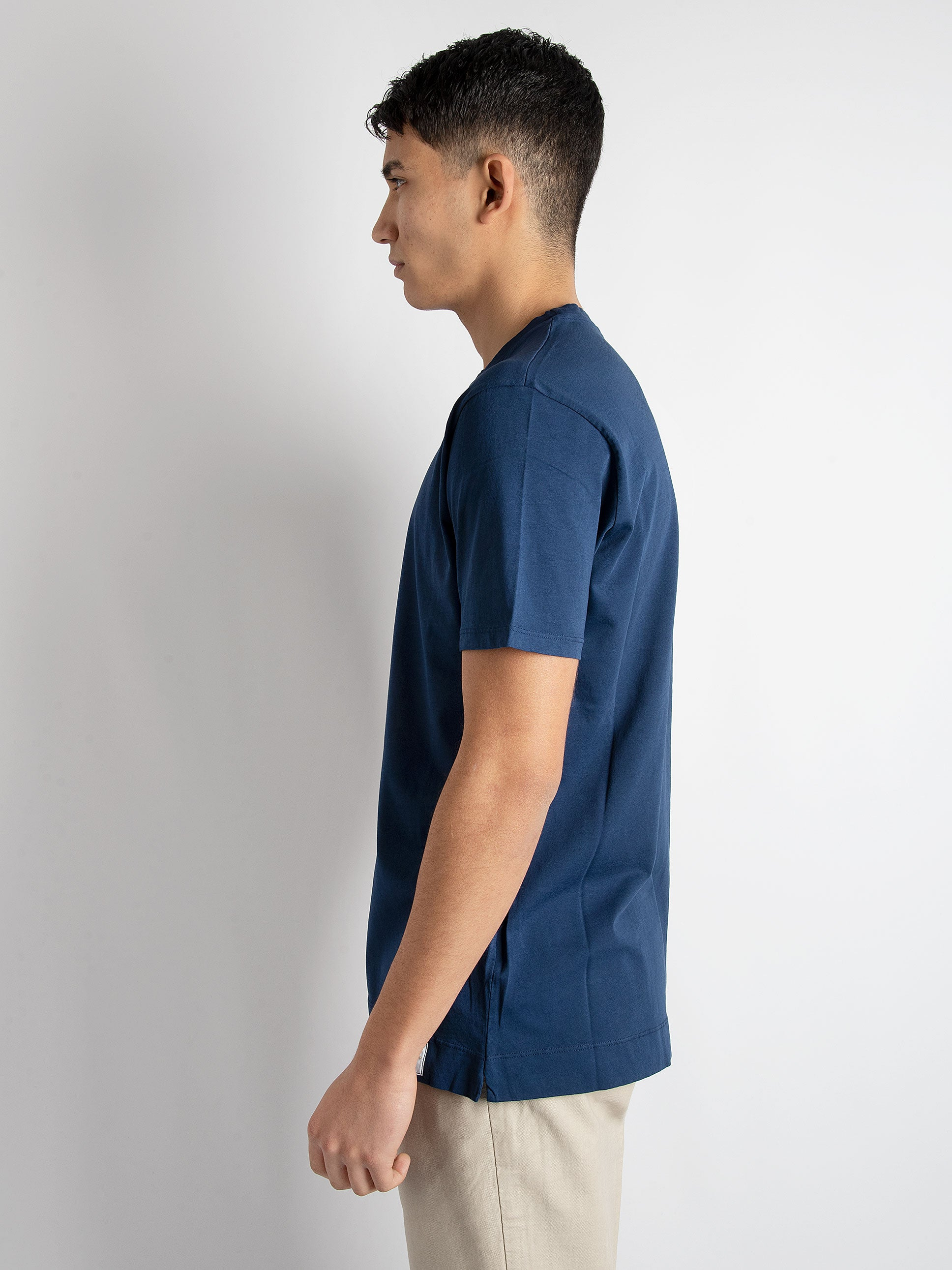 T-shirt in cotone basic - Blu