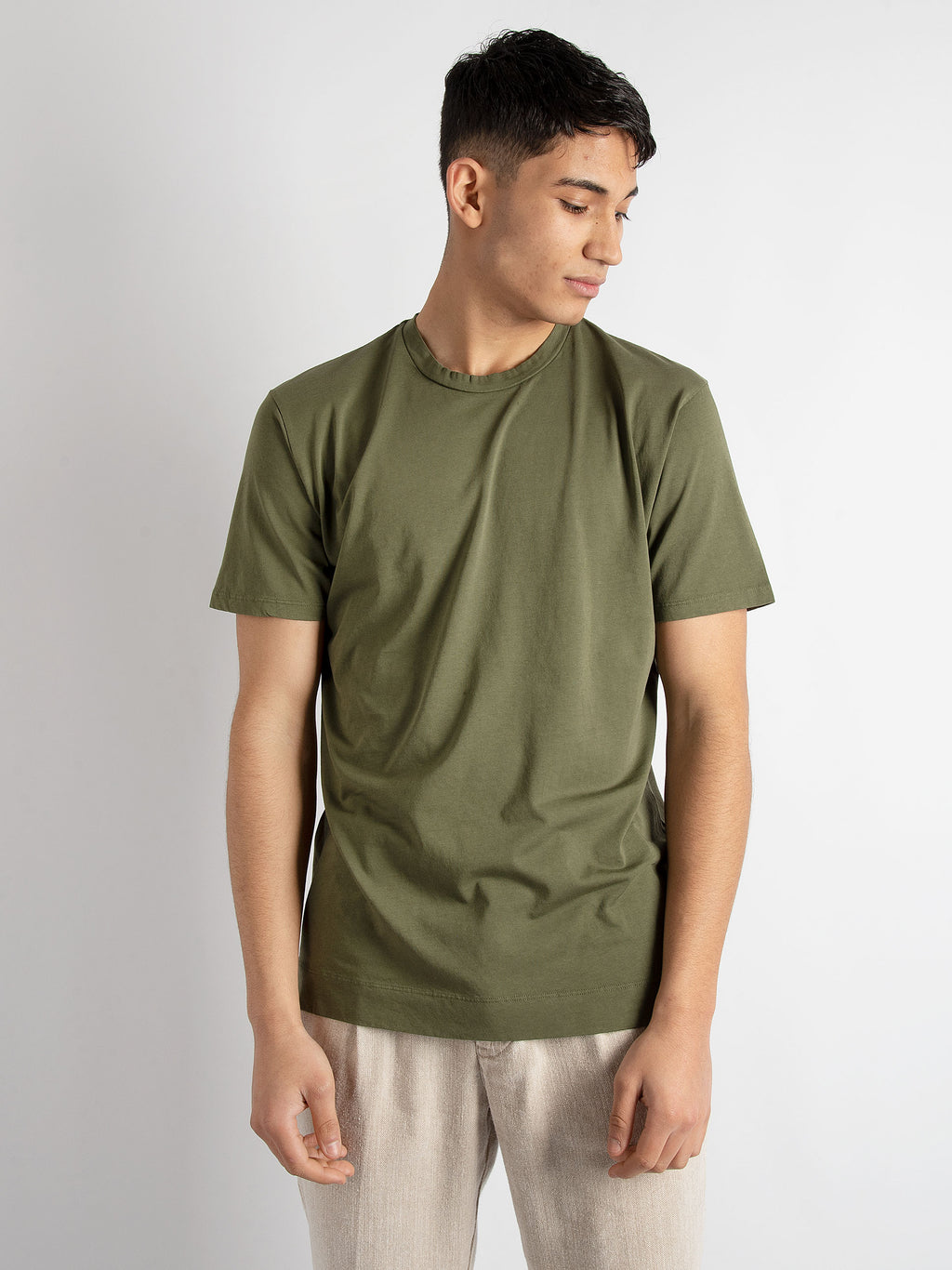T-shirt in cotone basic - Verde