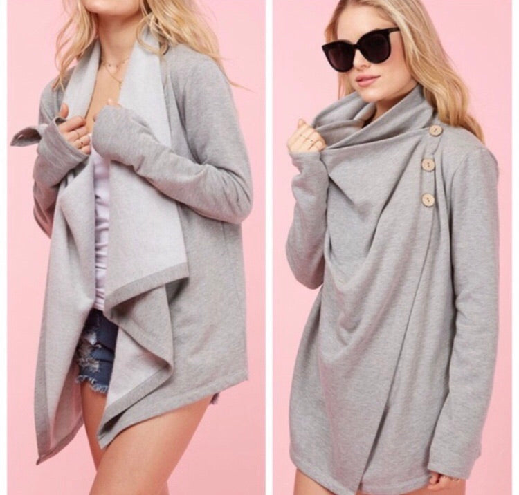 Terry Two Way Cardigan Sweater