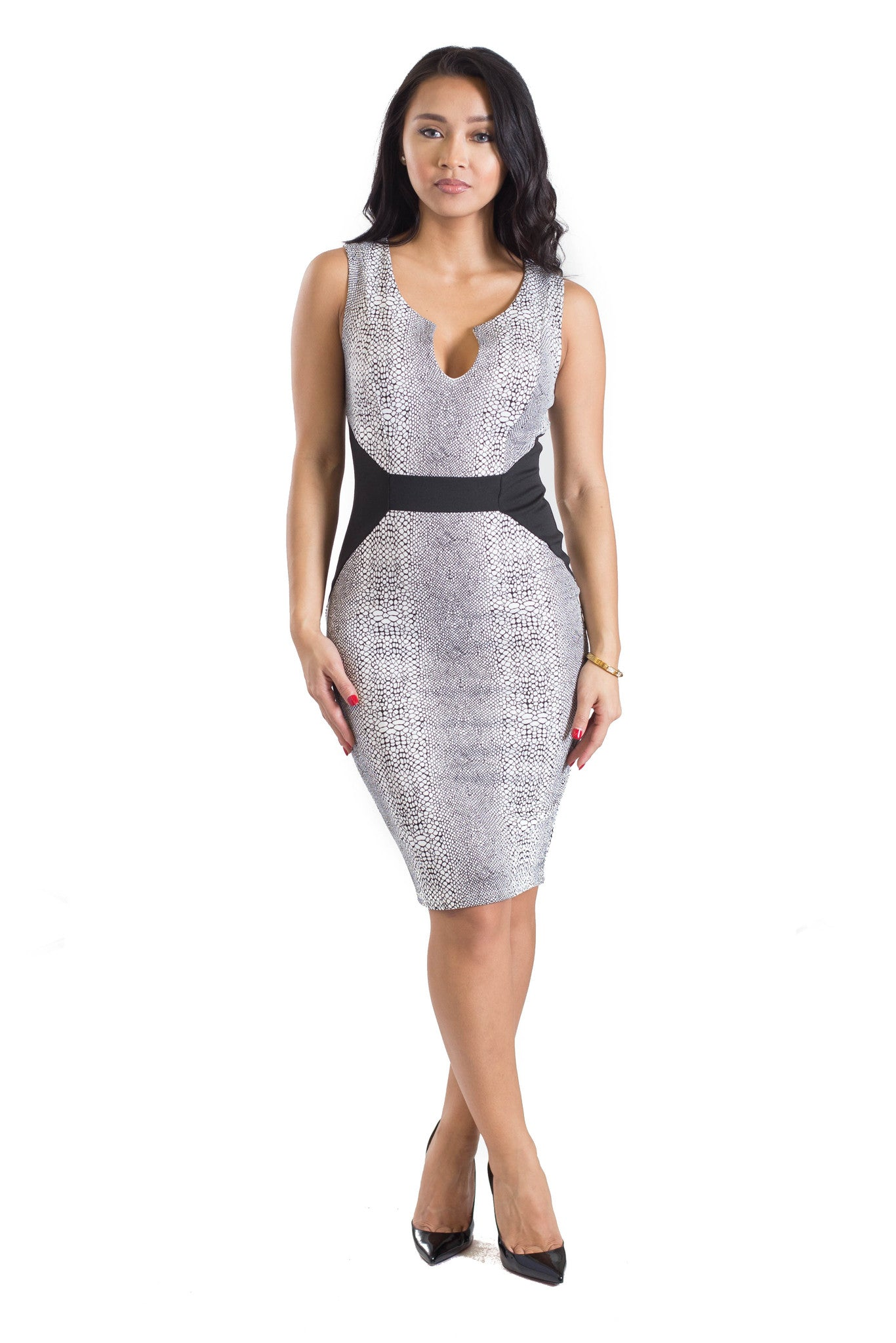 MC Devine Faux Snake Skin Dress