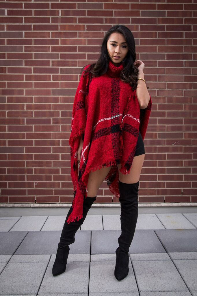 Renee Plaid Printed Extra Soft Turtle Neck Poncho