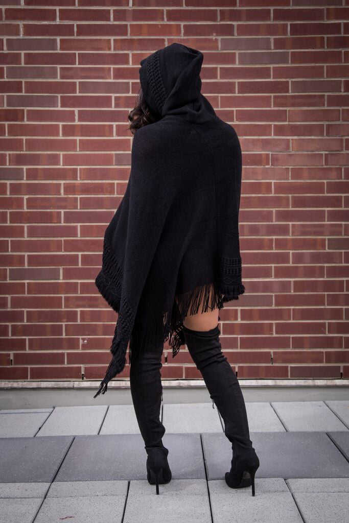 Vee Crochet light Hooded Poncho