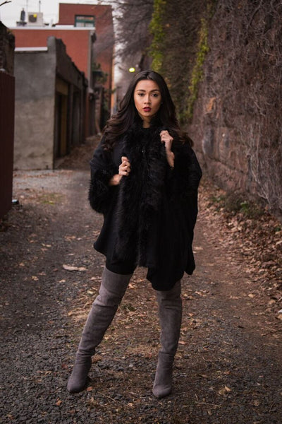 Veronica Faux Fur Poncho