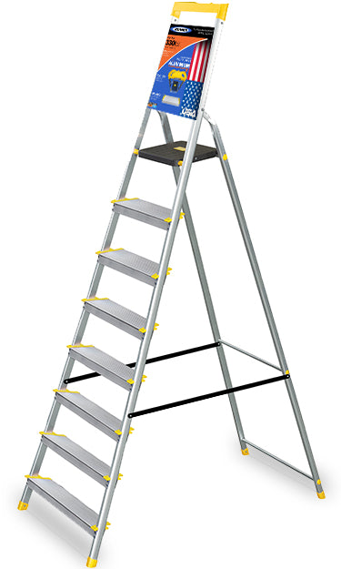 Fantastic Werner Made In Usa 8 Step Aluminium Ladder Heavy Duty Tool Tray Extra Wide Rung Aerospace Aluminium Top Seller World No 1 In Ladders Alphanode Cool Chair Designs And Ideas Alphanodeonline