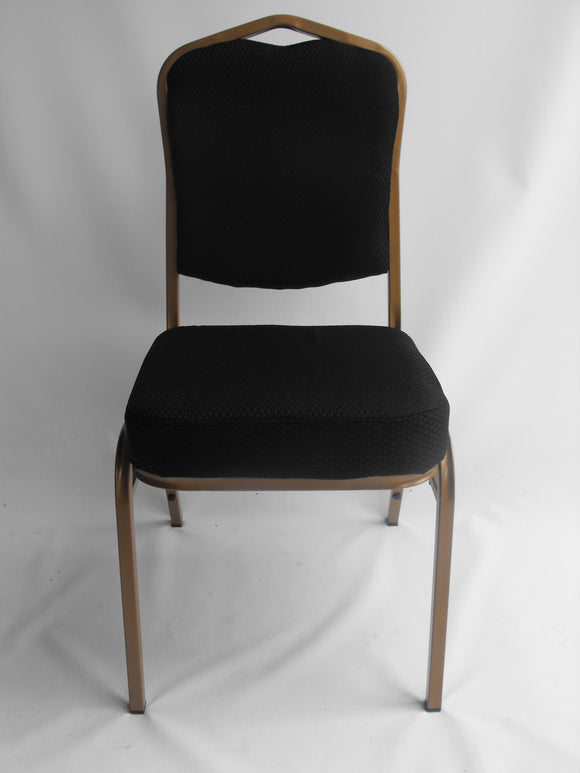 Steel Frame Upholstered Banquet Chair - Black