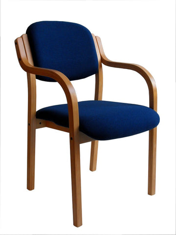 24no Beech Frame Reception Chair with Arms - Blue