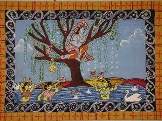 Krishna in the Kadam Tree by the Yamuna River in Vrindavan