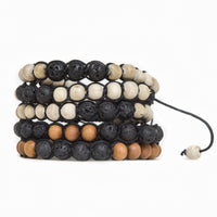 Lava Stone and Tulsi or Sandalwood Adjustable Braided Bracelets