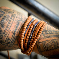 Iolite and Rudraksha Men's Wrap Bracelet