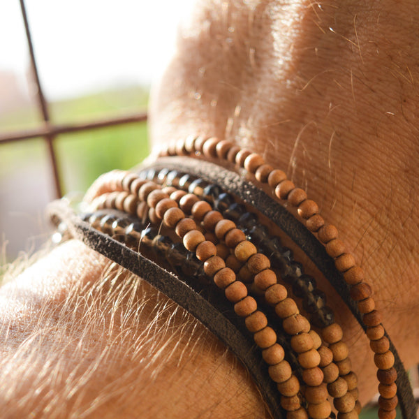 Sandalwood & Smokey Quartz Men's Wrap Bracelet