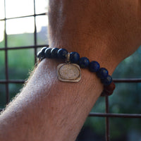 Sandalwood and Lapis Lazuli with Silver Sri Yantra Charm