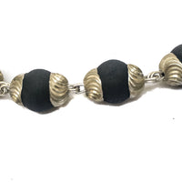 Black Tulsi Kanthi Choker Necklace with Silver Caps