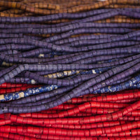 Bone Beads, Colored Tubes, 4mm (5 strands)