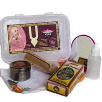 New devotee's gift box includes Gopalji, Ganga Water, tilak kit, necklace with Vrindavan Dust