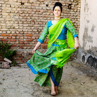 New cotton print Gopi Skirt in bright greens and blues.  Medium, by IndiOdyssey