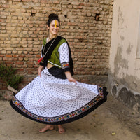 Handmade cotton skirt in white and batik border 32 panel Gopi skirt