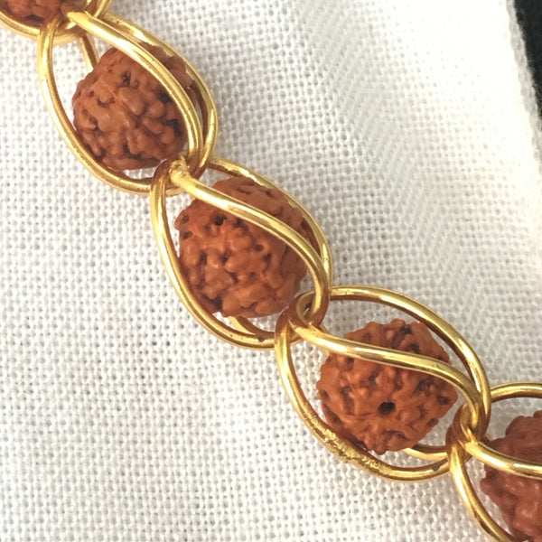 Rudraksha and Brass Chain Necklace