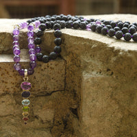 Lava Stone and Amethyst Mala Necklace with 7 Chakra Pendant