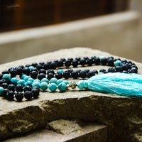 Turquoise and Lava Stone Aromatherapy Chanting Mala Necklace