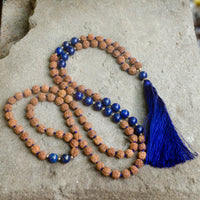 Natural Rudraksha and Lapis Lazuli Mala Necklace