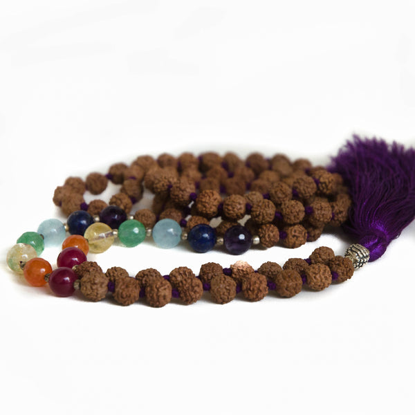 Seven Chakra and Natural Rudraksha 108 Bead Mala