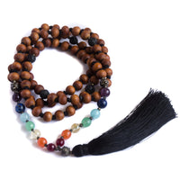 Seven Chakra and Sandalwood 108 Bead Mala