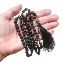 Lava Stone and Red Tiger Eye Infused Mala Necklace
