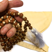 Sandalwood Mala Hand Knotted with Khadi Cotton Bean Bag by IndiOdyssey