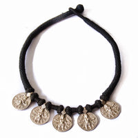 Kali Goddess Silver Coin Choker Necklace