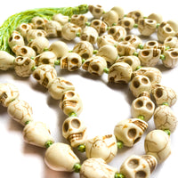 Skull Resin Bead Necklace Mala Hand-Knotted with Colored Silk by IndiOdyssey