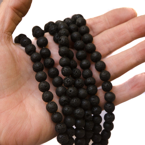 8mm Lava Stone Beads, 5 strands